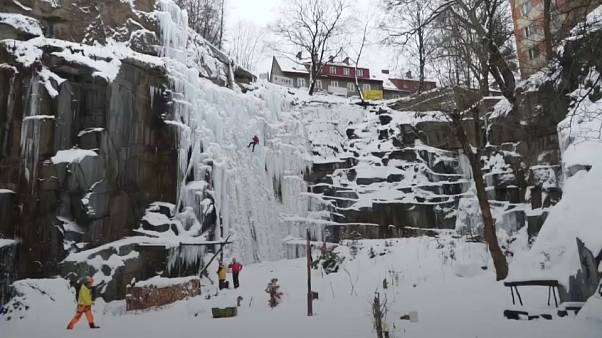 The open ice climbing wall in the heart of Prague