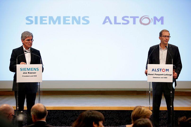 Joe Kaeser (Siemens) et Henri Poupart-Lafarge (Alstom) lors de la présentation de leur projet en septembre 2017