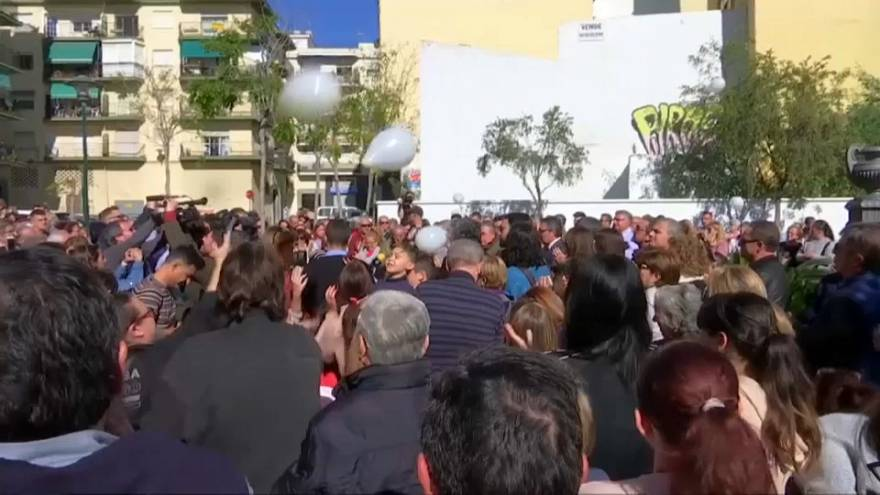 Julen: Malaga residents release white balloons in tribute to toddler