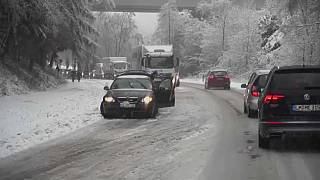 Heavy snowfall causes chaos on roads in southwest Germany