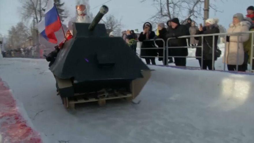 Russland: Schlittenspektakel begeistert Zuschauer