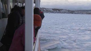 Japonya'da buzullar arasında gemi seyahati