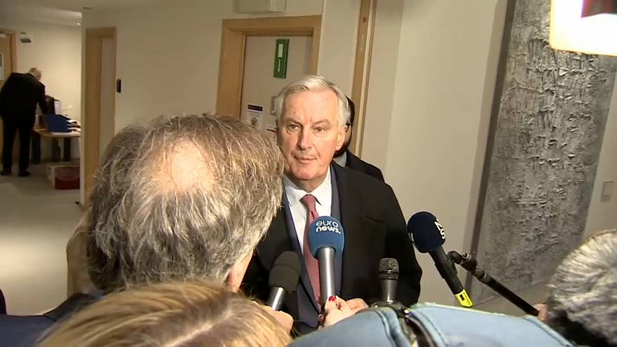 Michel Barnier speaks to reporters