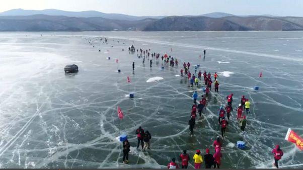 Media maratón en un lago helado