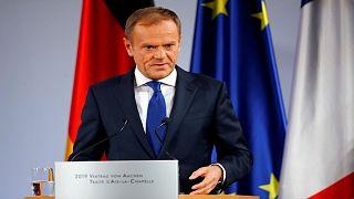 رئيس المجلس الأوروبي دونالد توسك في مؤتمر صحفي