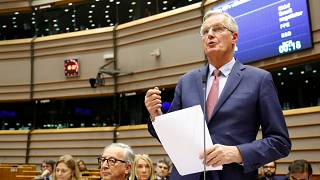 EU chief Brexit negotiator Michel Barnier speaks to the EU Parliament