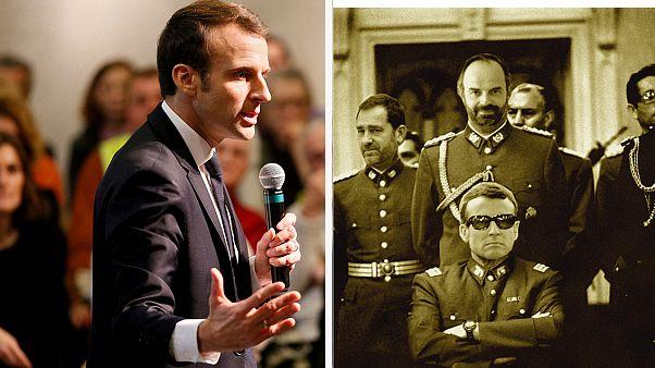 A la izquierda, Macron durante un debate, a la derecha el fotomontaje.