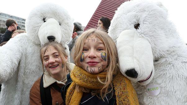 Belgien: Klima-Protest trotz klirrender Kälte