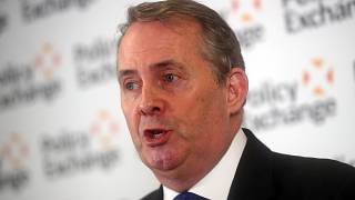 Liam Fox at the Policy Exchange thinktank on Feb 1, 2019.