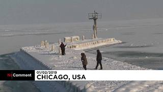 Rivers freeze over, 'ice sculptures' form in US extreme weather