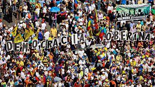 Demonstranten in Caracas in Venezuela
