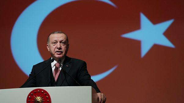 إردوغان خلال إلقائه كلمة في الأكاديمية العسكرية التركية في أنقرة