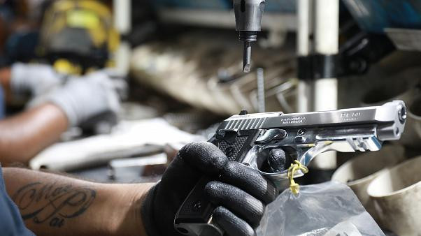 A file photo of a handgun on a production line
