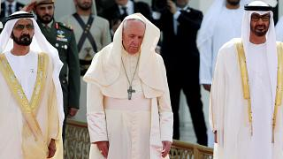 Pope Francis welcomed by Abu Dhabi's Crown Prince as he visits presidential palace