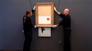 """Love is in the bin"": Banksy-Schredder-Werk in Deutschland zu sehen"