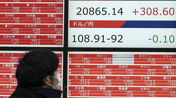 Japan's Nikkei 225 index at a securities firm in Tokyo
