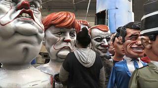 شاهد: مجسمات كاريكاتورية لماكرون وترامب وبوتين في مهرجان نيس