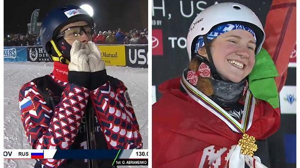 Буров и Романовская - чемпионы мира в лыжной акробатике