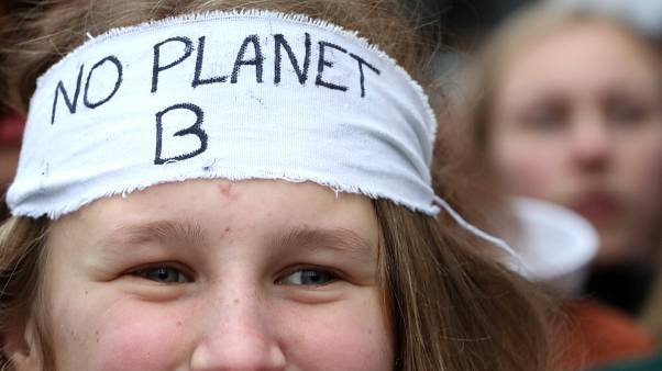 A protestor at the Brussels student march for climate
