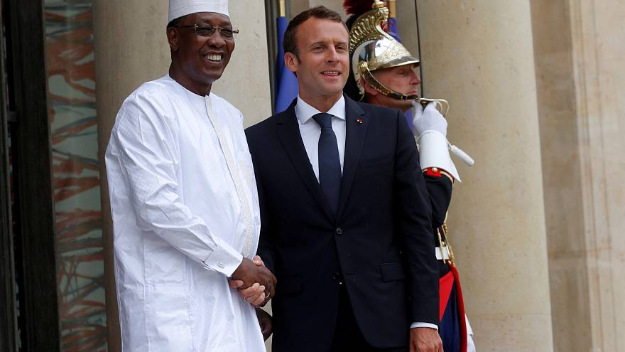 French President Emmanuel Macron with Chad's President Idriss Deby, 2018