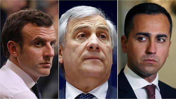 France's Macron, Italian EP president Tajani and Italy deputy PM Di Maio