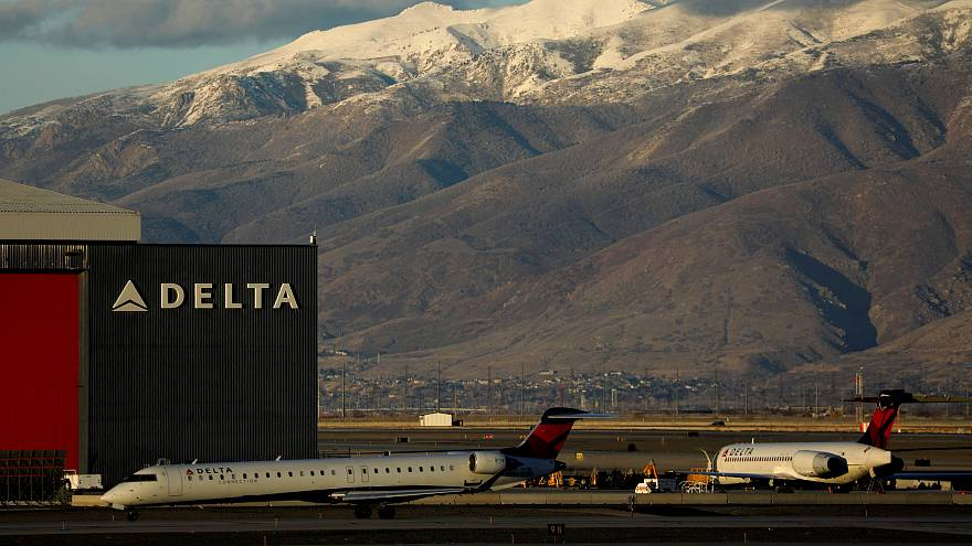 A Delta AIrlines plane at Salt Lake City airport