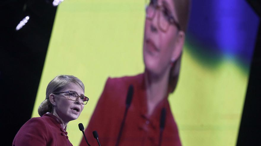 Yuliya Tymoshenko at an event in Kyiv in January