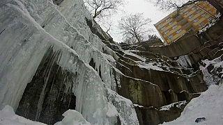 Tschechien: Innerstädtische Eiswand lockt Kletterer