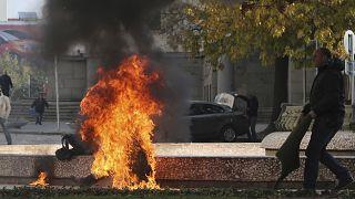 صورة من الأرشيف لامرأة حاولت إحراق نفسها في بلغاريا في العام 2014