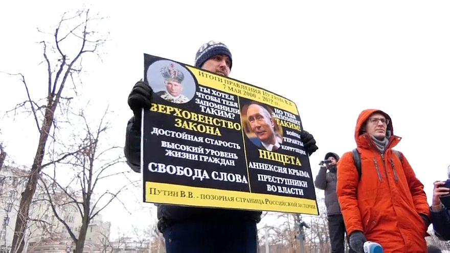 أحد المتظاهرين لتأييد أنستازيا في موسكو