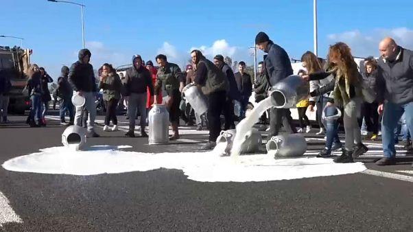 دامداران معترض ایتالیایی هزاران لیتر شیر در بزرگراه ریختند