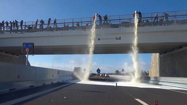 Italie : des agriculteurs en colère déversent du lait depuis un pont