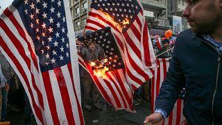 حرقت الأعلام الأميركية خلال الاحتفالات بذكرى الثورة الإسلامية أمس