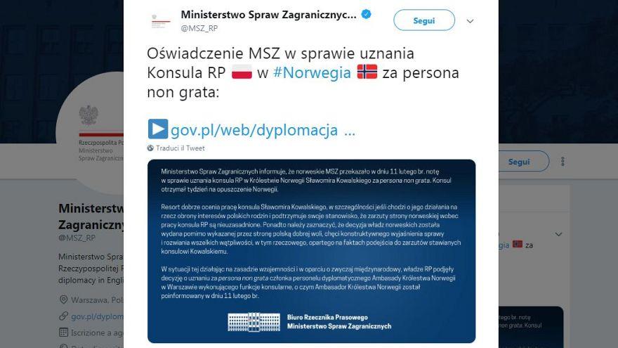 Tensione ed espulsione di diplomatici tra Norvegia e Polonia