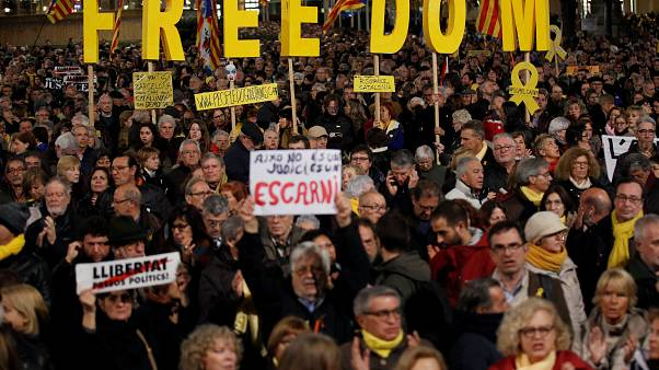 Manifestation de soutien aux leaders indépendantistes catalans