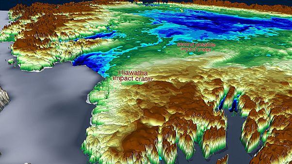 المنطقة الجغرافية التي اكتشفت فيها الحفرة النيزكية المحتملة