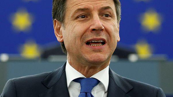 Giuseppe Conte addresses the European Parliament, February 2019