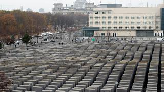 A general view of the concrete elements of the Holocaust memorial in Berlin
