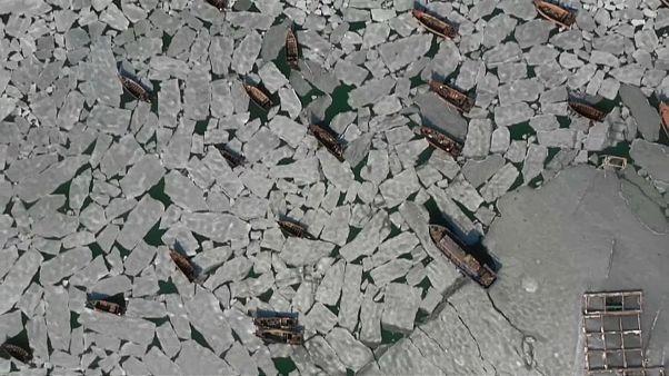 شاهد.. مياه البحر المتجمدة تحاصر مئات القوارب في الصين