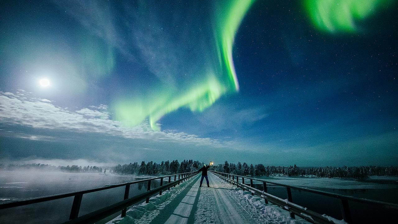 orthern Lights seen over the sky in Lapland, February 2019