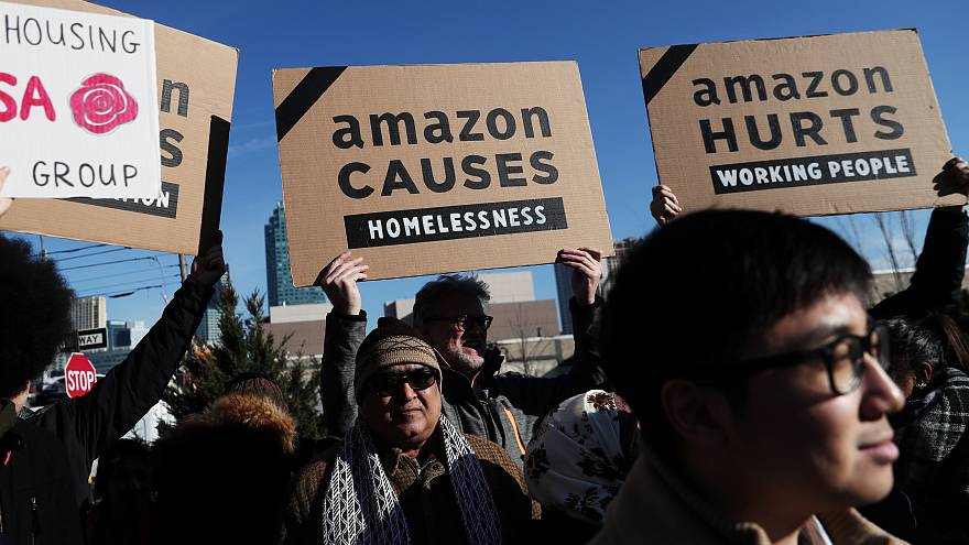 Protesters object to Amazon in New York