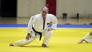 Russian President Vladimir Putin attends a judo training session in Sochi