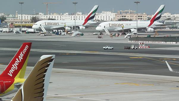 Emirates Airlines Airbus A380 planes are seen at Dubai Airports in Dubai