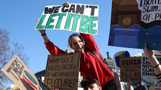 Student climate protesters gather in London