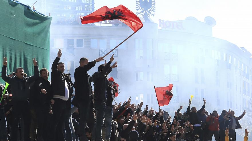 Protesters Albanian Prime Minister S Office Demand He Resigns