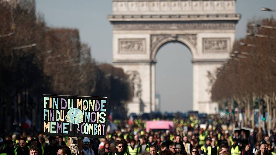 Yellow vest protesters in Paris on Saturday.
