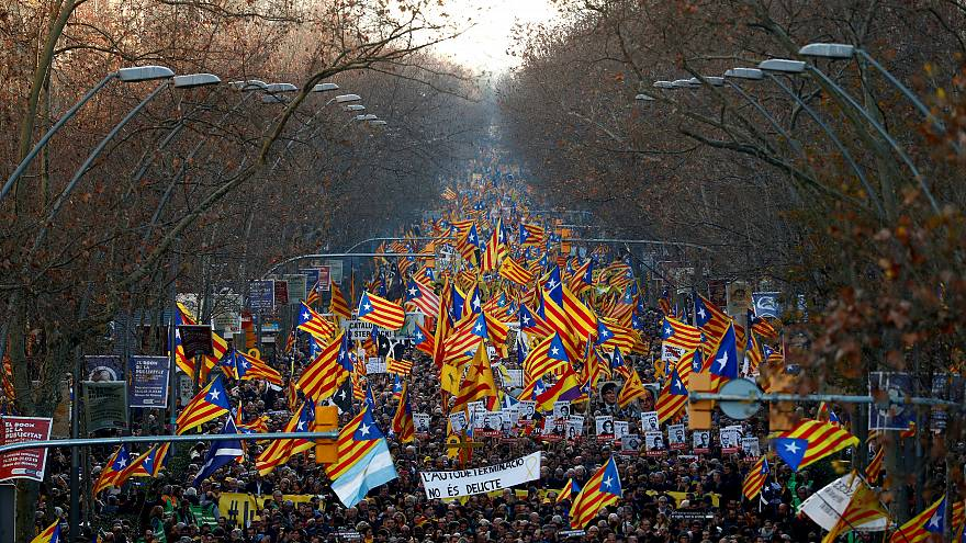 Pro-independence supporters hold a rally in Barcelona.