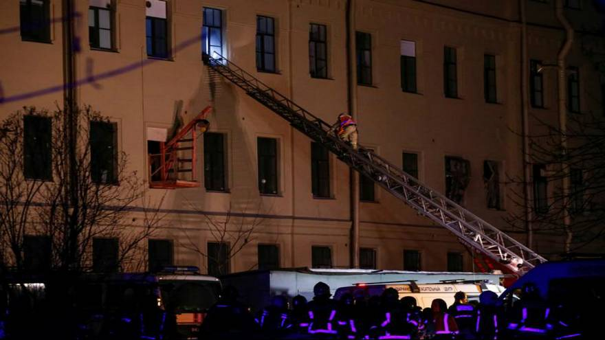 St Petersburg university building collapses, around 24 trapped