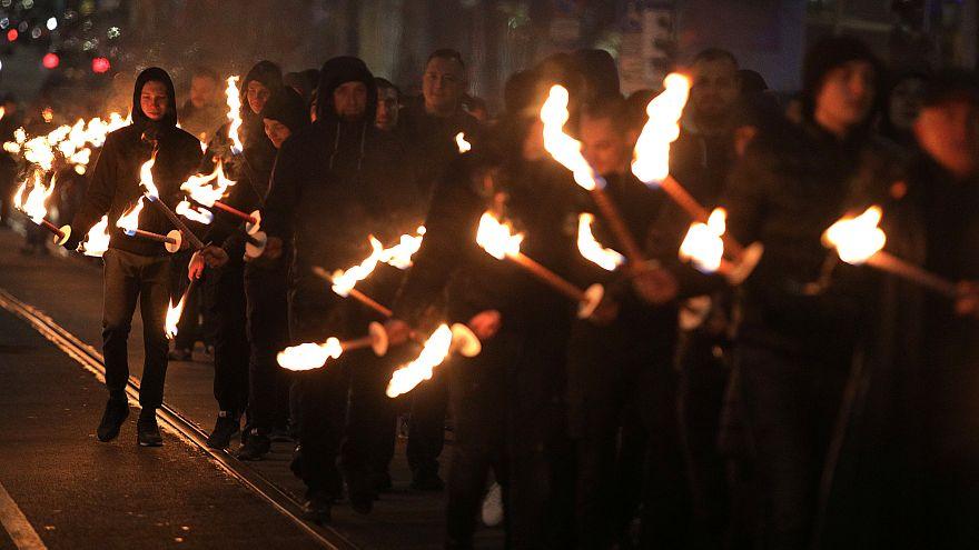 A far-right rally in Sofia, Bulgaria