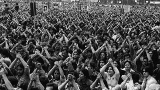 گردهمایی چریکهای فدایی خلق در برابر دانشگاه تهران